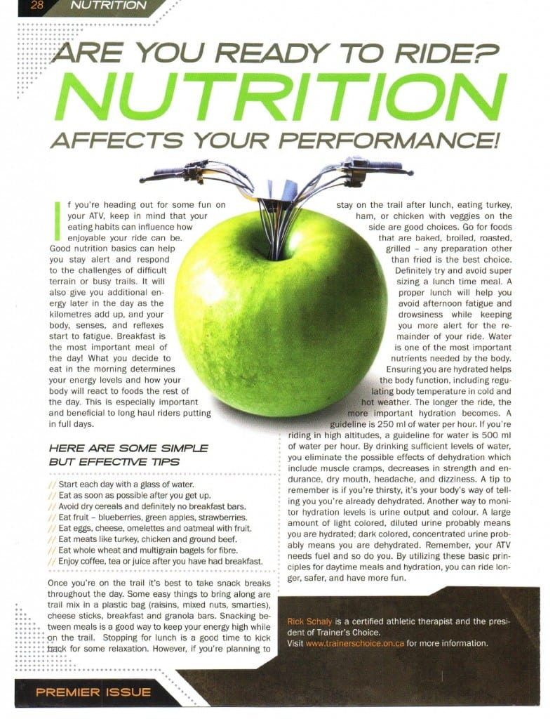 Ride Nutrition Tips - click to view full size.
