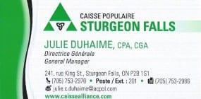 Caisse Sturgeon Julie Business card
